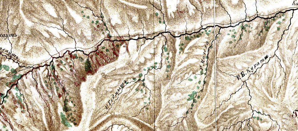 1877 Военно-топографическая пятиверстная карта Кавказского края